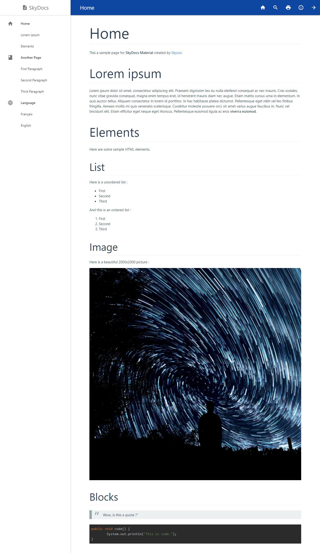 themes gallery skydocs